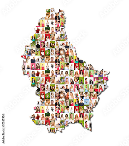 Portraits of a lot of people - map of luxembourg