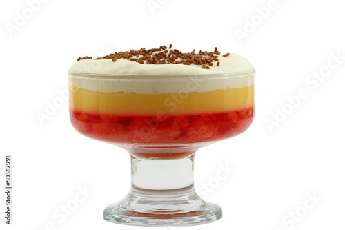 English strawberry trifle in sundae glass isolated on white