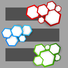 Set of banners with hexagons