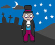 Cartoon vampire in graveyard