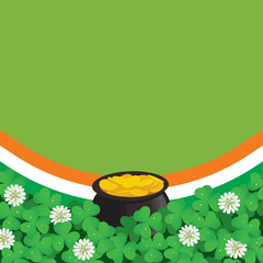 Saint Patrick's Day background with clover and pot of gold