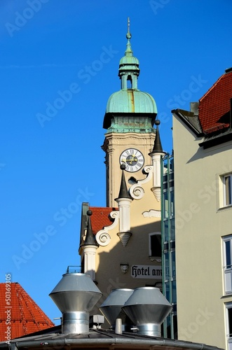 Clock tower & spires Munich Germany