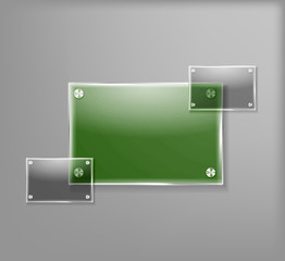 3D Glass Banner, Vector