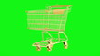 golden shopping cart loop rotate on green chromakey background