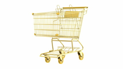 empty golden shopping cart loop rotate on white background