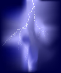 bright white lightning illustration in lilac sky