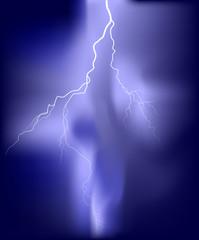 bright white lightning illustration in lilac sky