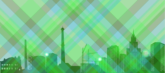 abstract green background with city landscape