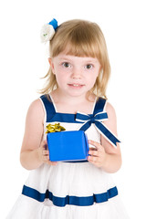 happy girl with gift box. isolated over white