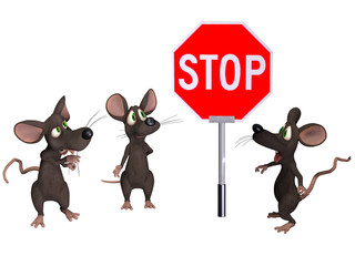 Mouse holding a STOP sign