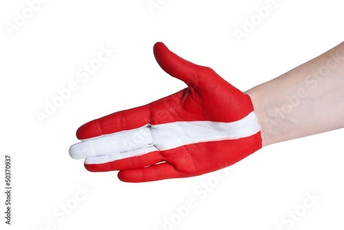 a hand painted in red and white