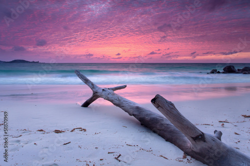 Foto Spatwand Zonsondergang op het Strand Sonnenuntergang am Strand