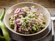 barley risotto with beans broad and onions,selective focus