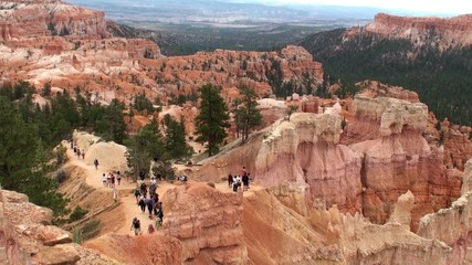 Ttourists on the observation deck Bryce Canyon NP. Utah, USA.