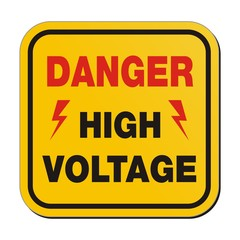danger high voltage - yellow sign