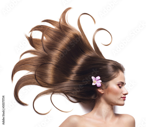 young woman with beautiful brown hair