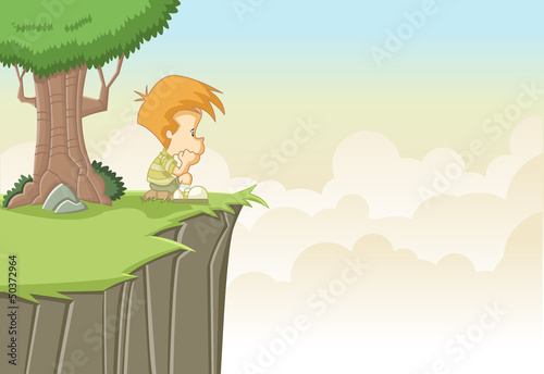 Sad cute cartoon boy thinking on top of a hill