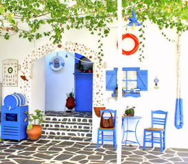 Traditional Greek tavern, on Santorini island, Greece