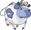 Happy blue cow. Cartoon