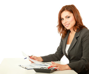 Young happy smiling business woman with folder