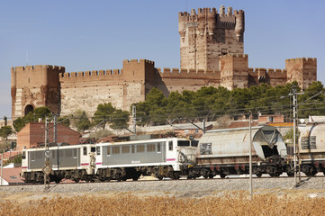 Freigh train with castle landscape