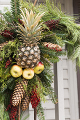 Pineapple Wreath with apples and pinecones