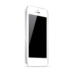 White smart phone vector illustration isolated on white