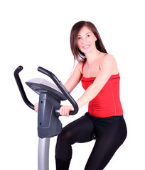 girl exercise with fitness cross trainer
