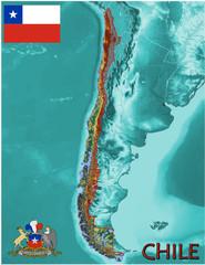 Chile South America national emblem map symbol motto