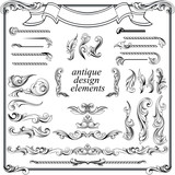 calligraphic design elements, page decoration set