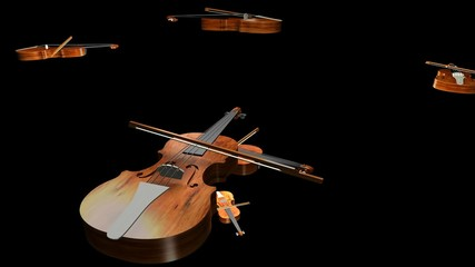 violins playing on dark background 3d animation loop