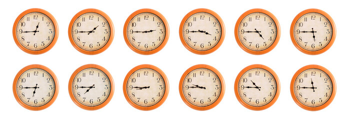 Isolated wall clocks set on white background #3/4