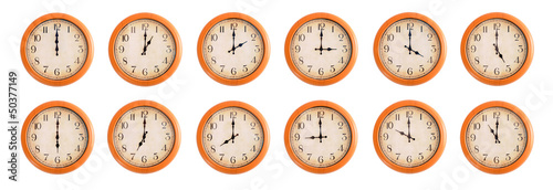 Isolated wall clocks set on white background #1/4
