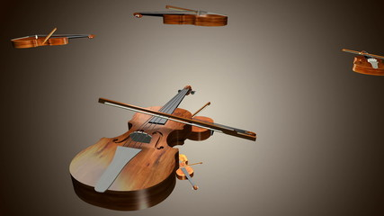 violin playing on light background 3d animation loop