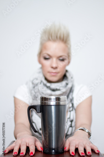 beautiful blonde girl with coffee