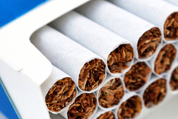 Close up of a pile of cigarettes in pack