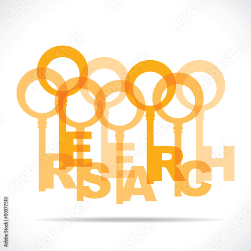 Group of keys make research word stock vector
