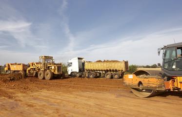 Tractors and dump trucks