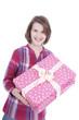 Glückliches Mädchen hält Geschenk - happy girl with gift