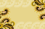 beige frame with paisley pattern