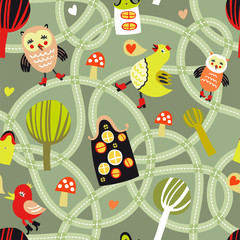 Cute seamless pattern with road, houses and birds