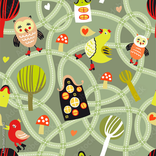 Fotobehang Op straat Cute seamless pattern with road, houses and birds