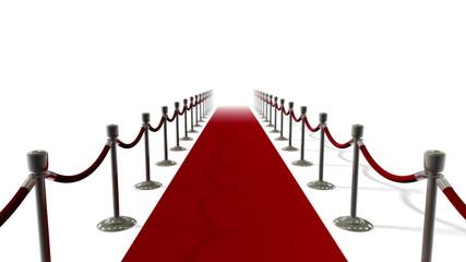 Red Carpet & Velvet Ropes Loop on White Backdrop