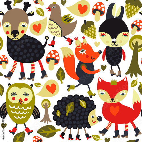 Colorful seamless pattern with woodland animals and birds