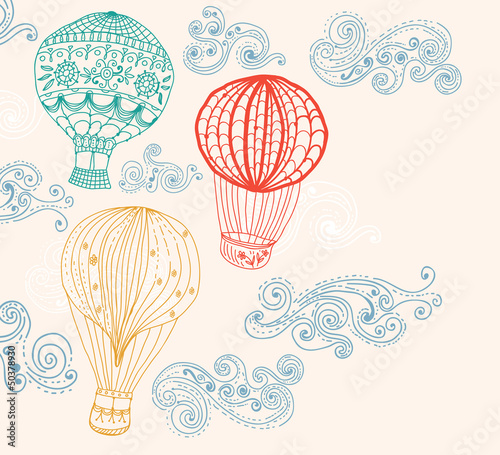 hot air balloon in sky background - 50378930