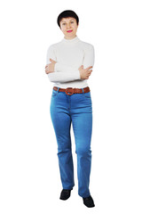 Pretty Woman Wearing Blue Jeans And White Turtleneck