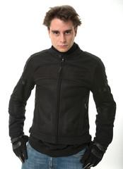 Man in motorcycle jacket