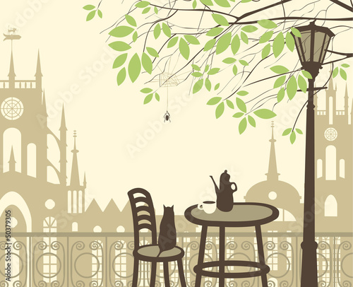 Foto op Aluminium Drawn Street cafe outdoor cafe in the old town with cat spider