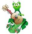Singer Frog Cartoon with Guitar-Rana Cantante con Chitarra