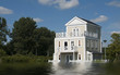 big wooden house in high water